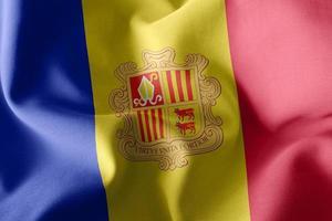 Drapeau d'illustration 3D de l'Andorre sur le fond du drapeau du vent photo