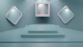 Le rendu 3D de l'affichage des marchandises bleu pastel photo