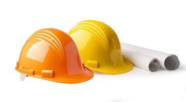 casque de construction isolé sur fond blanc photo