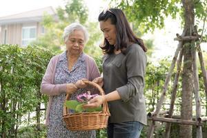 Asiatique senior ou vieille dame âgée prenant soin du jardin travail à la maison passe-temps pour se détendre et faire de l'exercice avec heureux photo