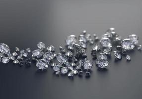 Groupe de diamant placé sur fond noir avec un rendu 3D flou photo
