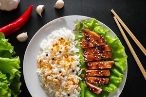 Poulet teriyaki avec riz blanc sur une assiette photo