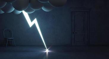 Concept chambre mystique sombre et intérieur orage photo