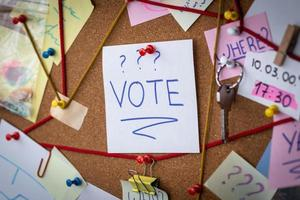 Conseil de détective concept de vote avec preuves photo