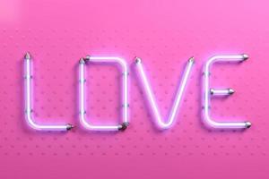 bannière pop art mot amour néon rose photo
