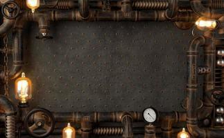 Lampe steampunk loft mur sombre de fond de tuyaux photo