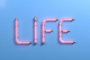 bannière pop art word life rose néon photo