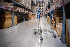 un chariot dans l'allée de l'entrepôt dans un magasin ikea photo