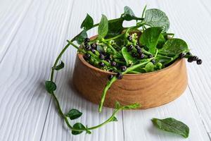 Feuilles de légumes basella alba pour la santé photo