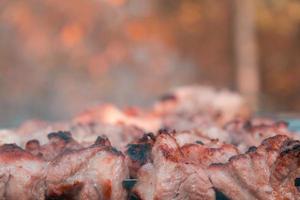 shish kebab sur des brochettes et des charbons ardents avec de la fumée photo