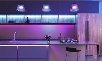 cuisine moderne avec des lumières LED colorées photo