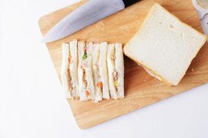 La cuisson de délicieux thon sandwich fait maison pour fond de nourriture photo