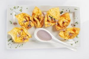 Chifa frit wonton péruvien affichage de la nourriture fusion alimentaire photo
