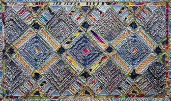 tapis chenille en denim et coton, texture moelleuse photo