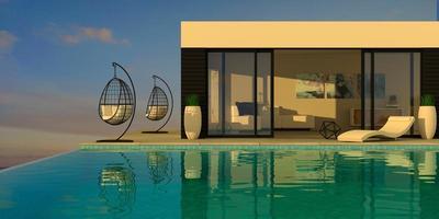 villa moderne sur la mer avec piscine et transats photo