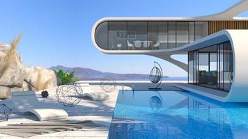 piscine de villa moderne futuriste sur la mer photo