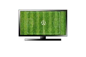Terrain de football tv isolé sur fond blanc photo