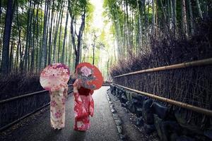 Forêt de bambous d'Arashiyama à Kyoto au Japon photo