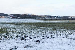 neige dans le champ des agriculteurs photo