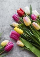 tulipes de printemps sur fond de béton photo