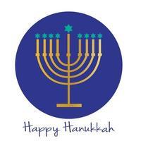 Joyeux graphique de la menorah de Hanoucca sur le cercle bleu photo