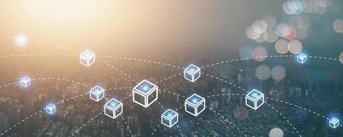 blockchain reliant la technologie des lignes et le concept de cybersécurité, le réseau fintech et le numérique social moderne photo