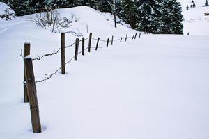 clôture dans un paysage enneigé photo