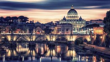 la ville de rome au coucher du soleil photo