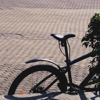 roue de vélo dans la rue photo