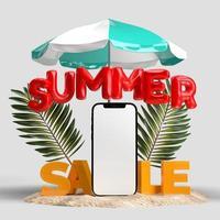 smartphone avec objets décoratifs de plage photo