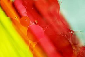 une belle macro colorée de bulles d'huile sur l'eau avec une texture à rayures jaune, rouge, verte, orange et bleue comme motif de fond photo