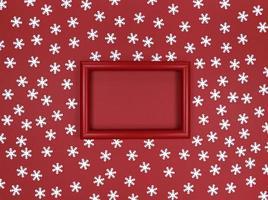 cadre et confettis de flocons de neige sur fond rouge. photo