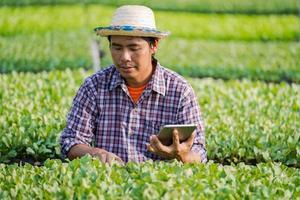 agriculteur asiatique en chapeau utilisant une tablette numérique et vérifiant les jeunes plants dans sa ferme dans le potager photo