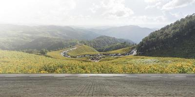 route goudronnée vide et beau paysage de montagne photo