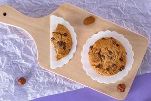 biscuits aux pépites de chocolat, biscuits aux amandes, aux noix, aux noisettes. photo