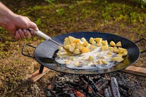 pomme de terre sur l'autocuiseur à disque de charrue. pommes de terre sur le gril à disque. photo