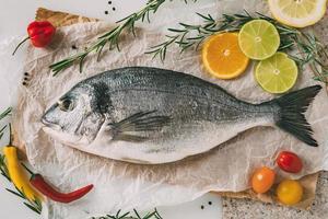 dorade sur plaque de cuisson avec romarin, citron, orange, tomate, piments forts et citron vert. orata frais, poisson dorade sur table de cuisine. photo