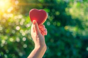 les mains des femmes et des hommes sont en forme de coeur avec la lumière du soleil passant à travers les mains photo