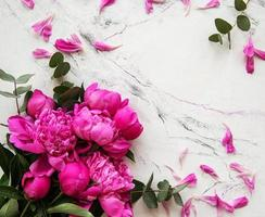pivoines roses sur fond de marbre photo