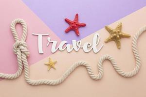 concept de voyage avec vue de dessus d'étoile de mer photo