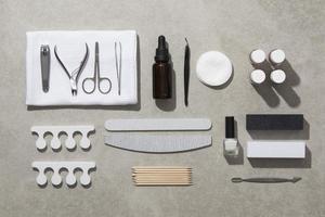 produits de soin des ongles à plat photo