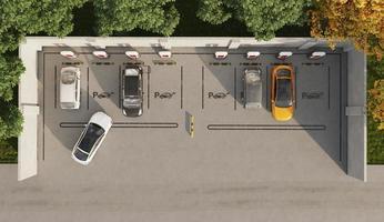 vue de dessus des voitures électriques dans le parking photo