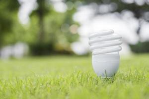 ampoule dans l'herbe verte, sauvez le concept de la terre photo