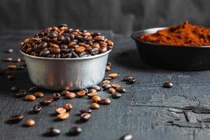 café moulu en poudre et grains de café torréfiés photo