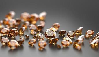 gemme de topaze diamant rond placé sur fond de réflexion sombre illustration 3d photo