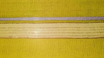 vue aérienne de dessus du champ de riz jaune d'en haut photo