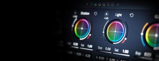 outils d'étalonnage des couleurs ou indicateur de correction des couleurs RVB sur le moniteur photo