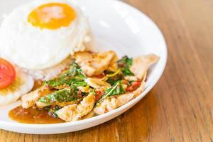 poulet frit au basilic et oeuf au plat avec riz photo