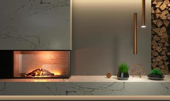 mur de cheminée d'angle en verre moderne à l'intérieur photo