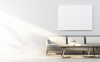 Rendu 3D d'une maquette de design d'intérieur pour salon avec cadre photo sur mur blanc